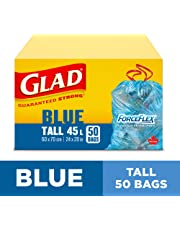 Glad Blue Recycling Bags - Tall 45 Litres - ForceFlex, Drawstring, 50 Trash Bags