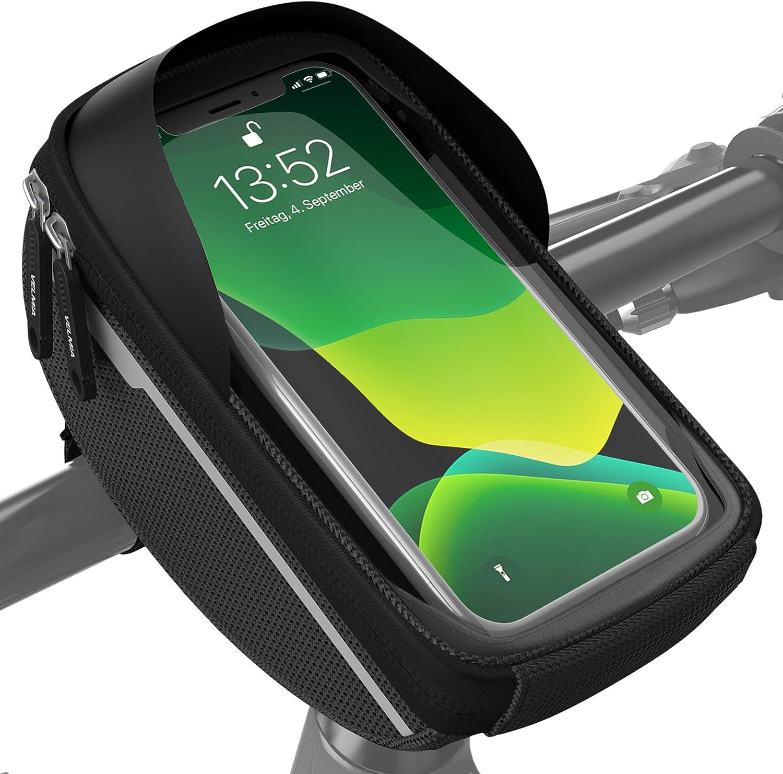 Velmia Bolsa para Manillar de Bicicleta - Soporte de móvil para Bicicleta, Ideal para navegación - Bolso para Manillar de Bicicleta, Funda de móvil para Bicicleta, Accesorios para Bicicleta