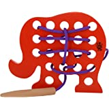 Skillofun Wooden Sewing Toy Elephant, Multi Color