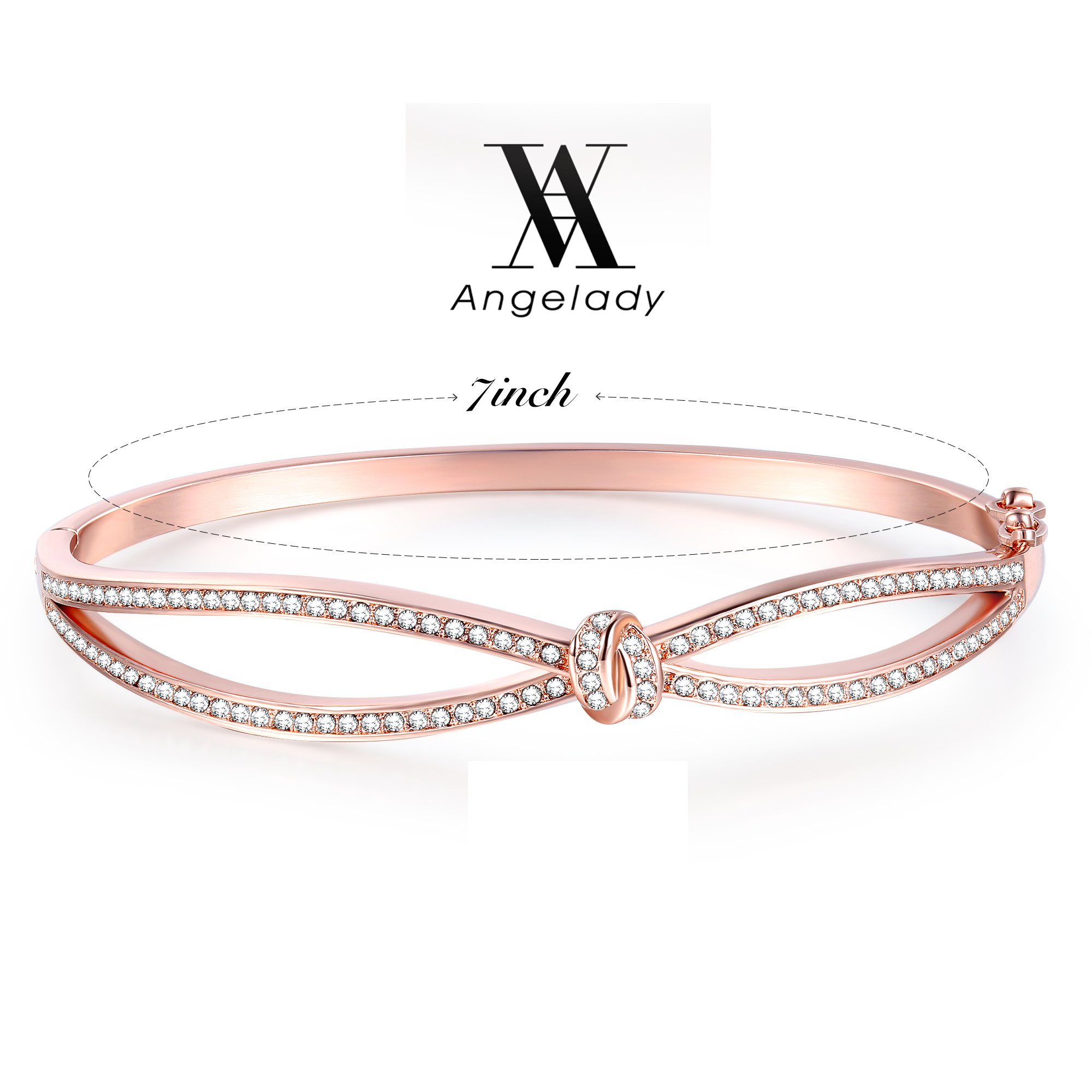 Angelady Classic Rose Gold Bangles Infinity Bracelets for Womens Birthday Jewellery, Crystals from SWAROVSKI- Included a Gift Box(Rosegold)
