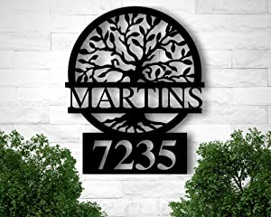 Custom Metal Address Sign, Metal House Numbers, Metal Address Plaque, Front Porch Sign, Address Number Sign, Tree of Life Address Sign