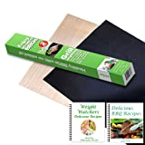 ekSel Grill Oven BBQ Mats & Baking Sheet Cooking Liner Woven Fiberglass Reusable Non Stick 1 Black & 1 Beige; Set of 2