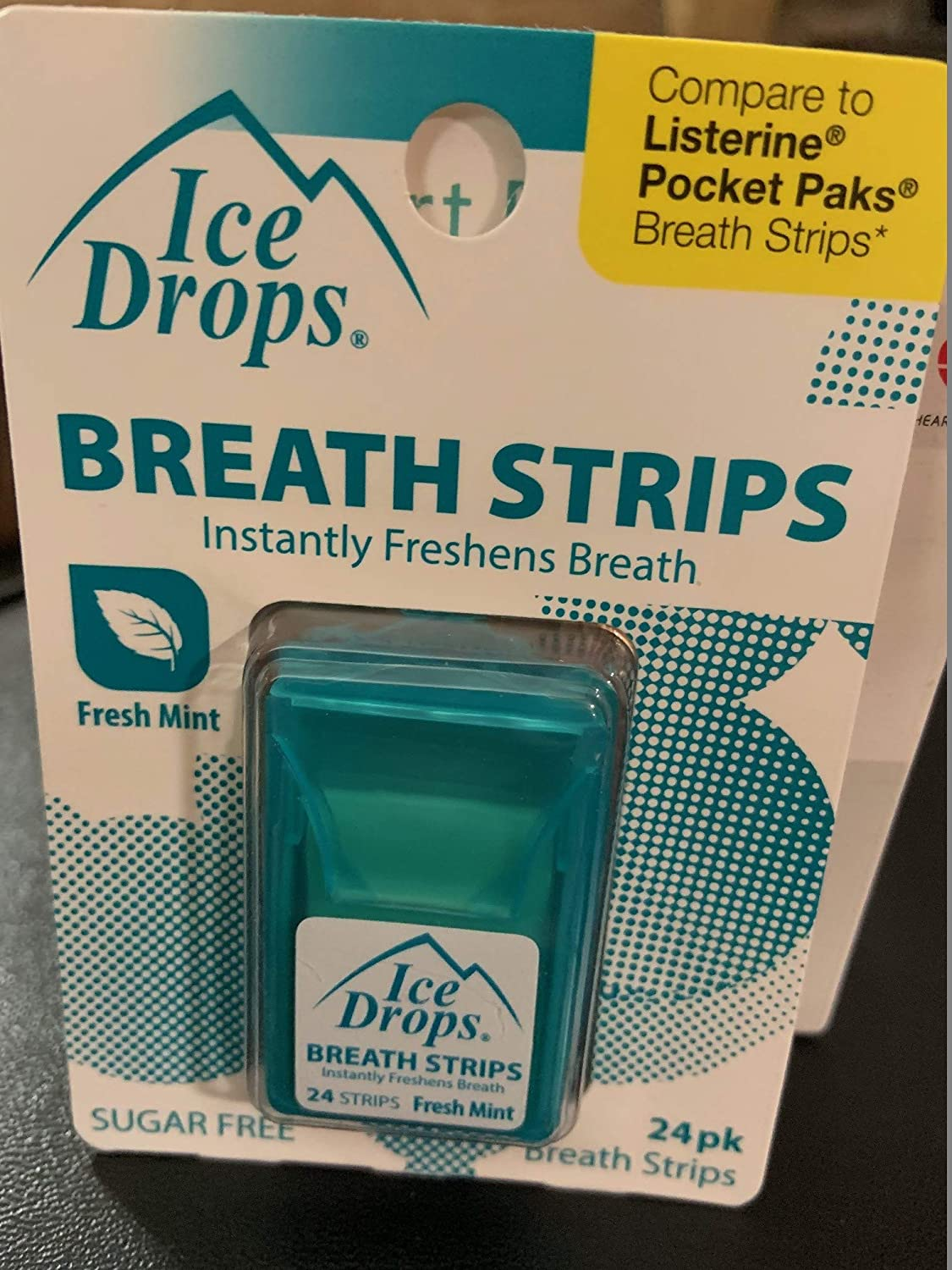 Fresh Mint Sugar Free Ice Drops Breath Strips 24 count(pack of 3)