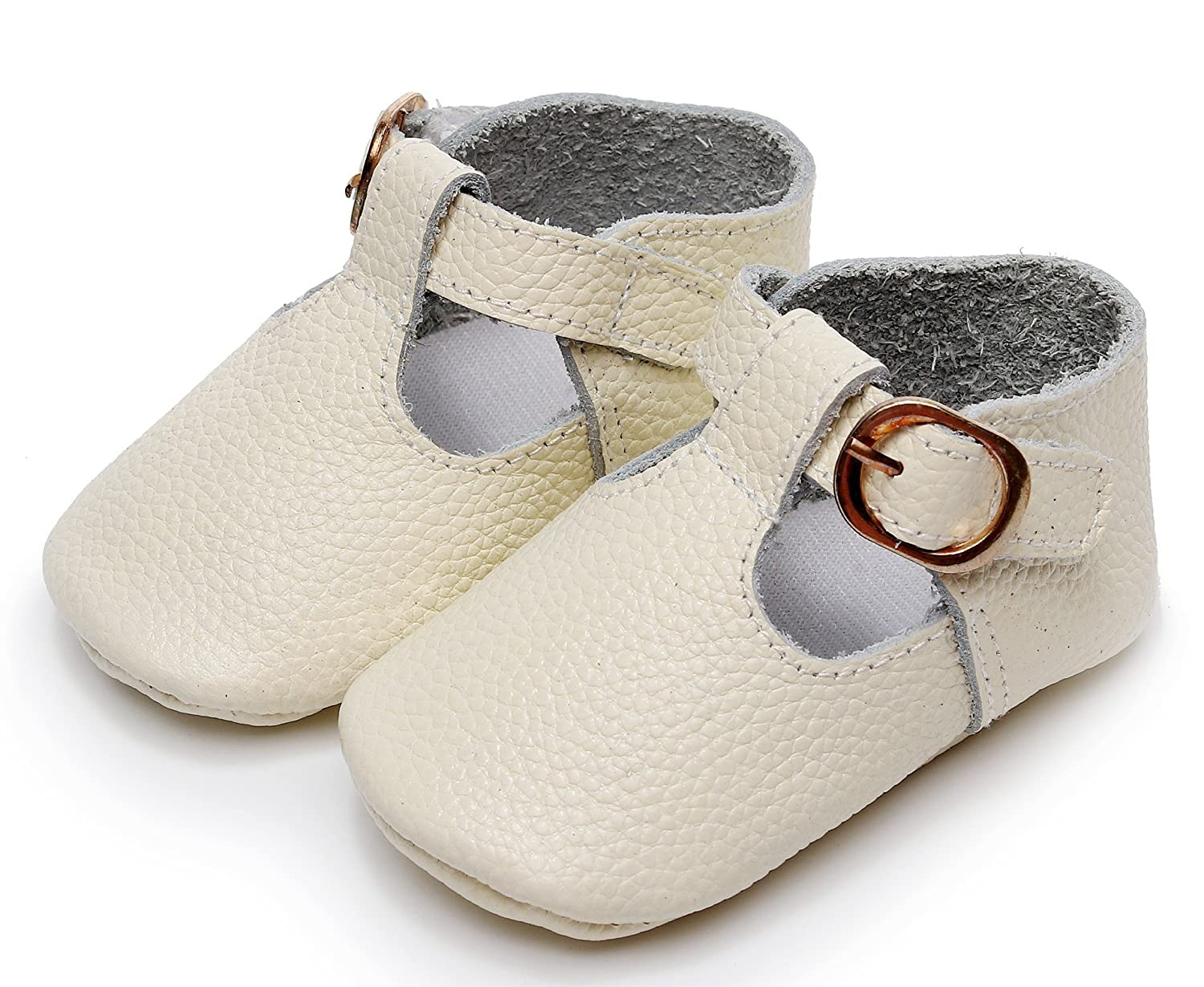 1ba53ad40e8aa Bebila T-Strap Infant Moccasins for Girls Buckle Soft Baby Boy Shoes ...