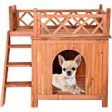LONABR Wooden Pet Dog House 2 Tier Dog Room Shelter with Stairs and Balcony,All-Weather Puppy House for Indoor, Outdoor