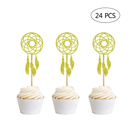 24 adornos para cupcakes con purpurina dorada para fiestas ...