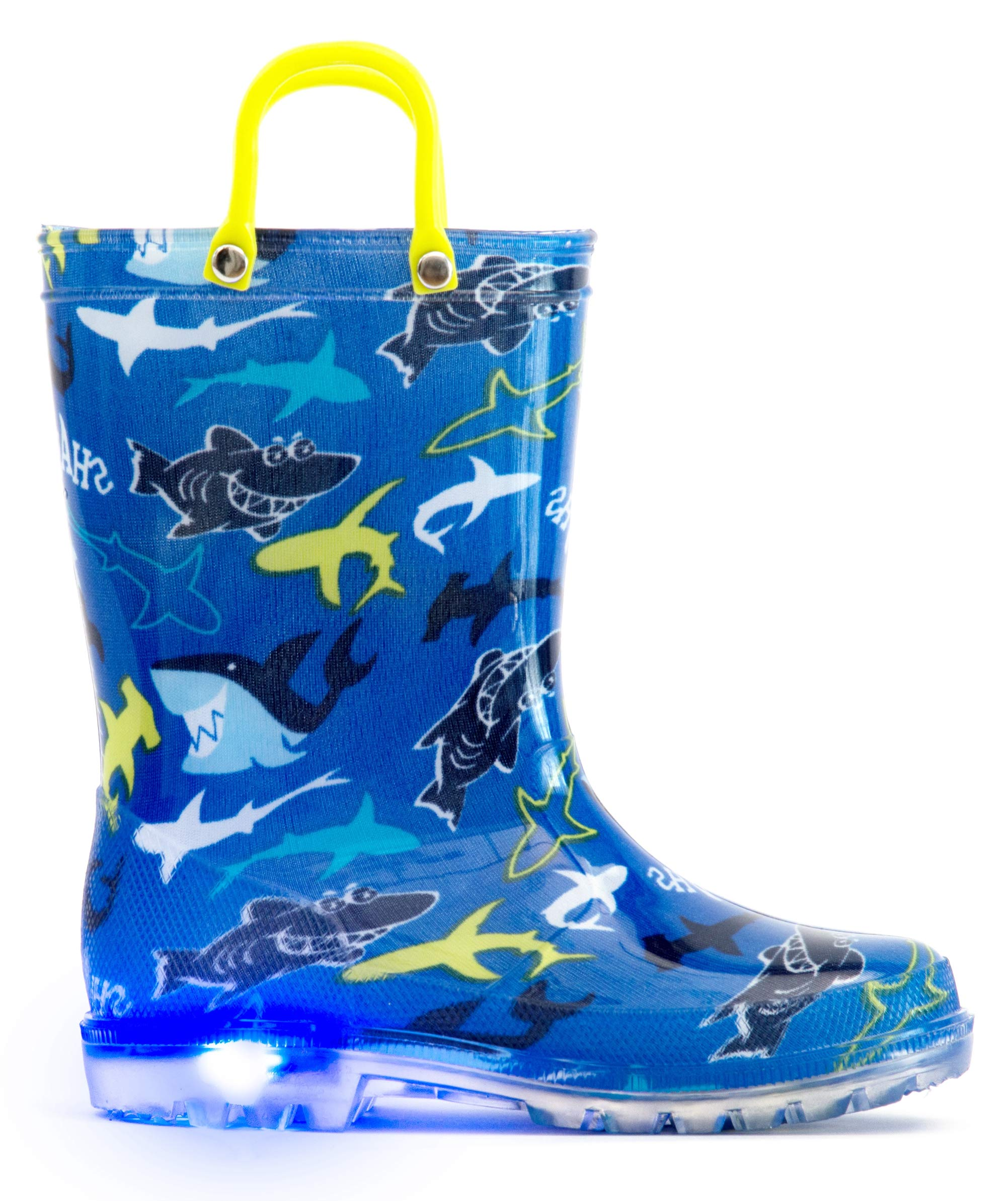 MOFEVER Kids Boys Toddler Light Up Rain Boots Waterproof Shoes Blue Shark Print Lightweight Cute Lovely Funny Print with Easy-On Handles (Size 2,Blue)