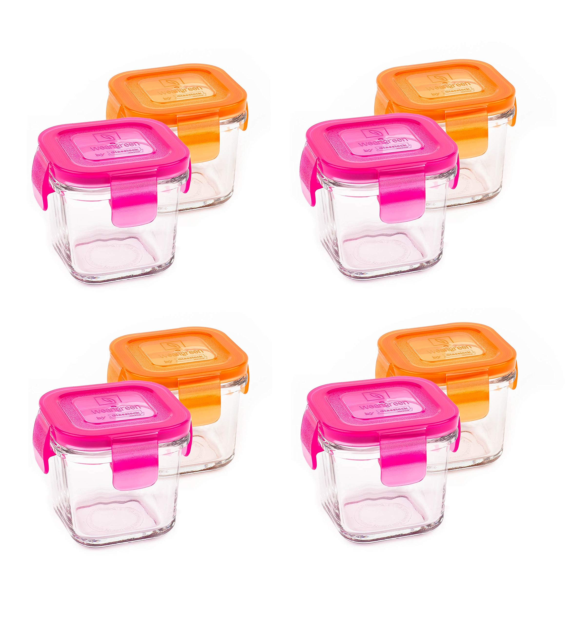 Wean Green Wean Cubes 4oz/120ml Baby Food Glass Containers - Starter Pack Pink and Orange (Set of 8)