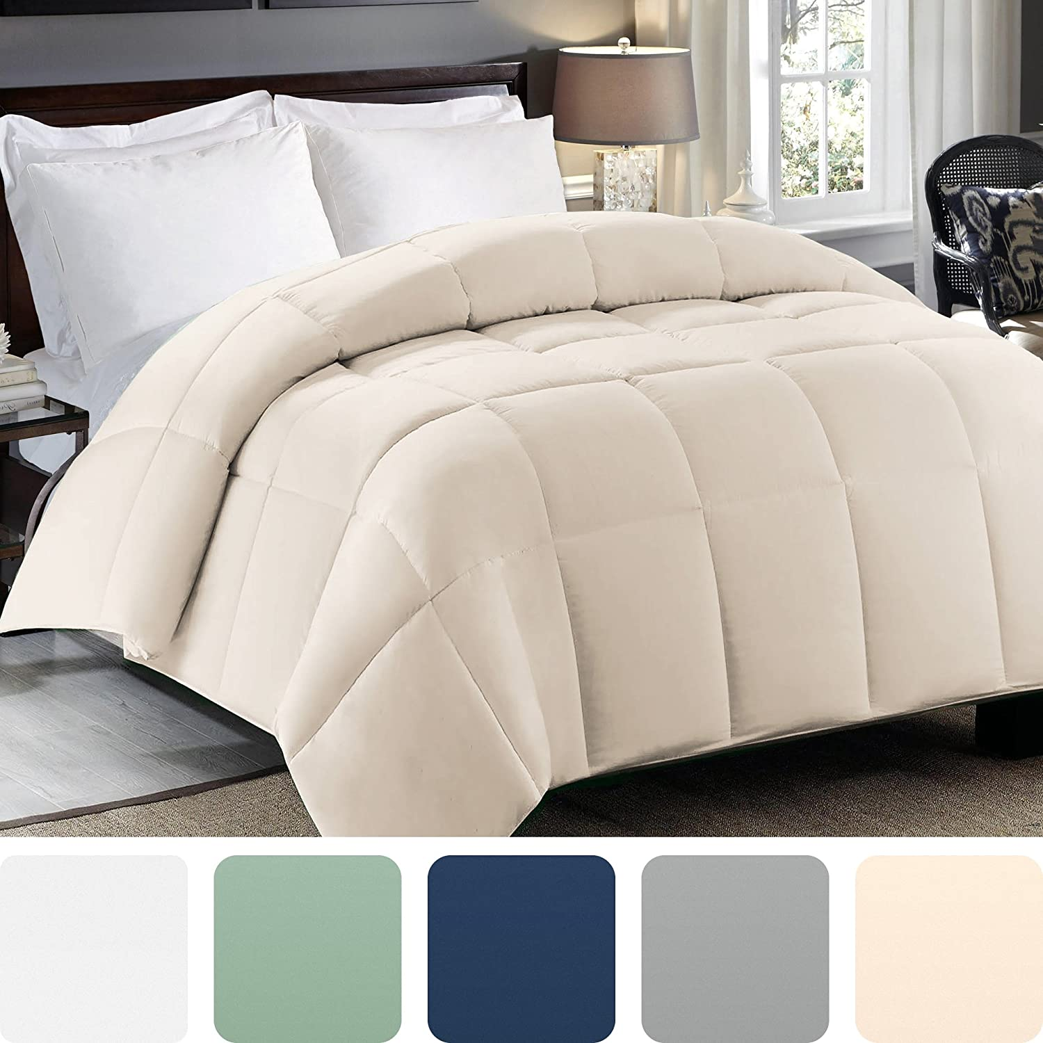 Amazon Com Cosy House Collection Premium Down Alternative Comforter Ivory All Season Hypoallergenic Bedding Lightweight And Machine Washable Duvet Insert Twin Twin Xl Kitchen Dining