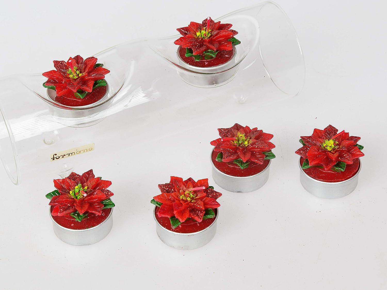 formano 6er Pack Deko Teelichter Rosen dunkel rot