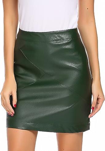 Parabler - Falda de piel clásica para mujer, entallada, falda de piel ...