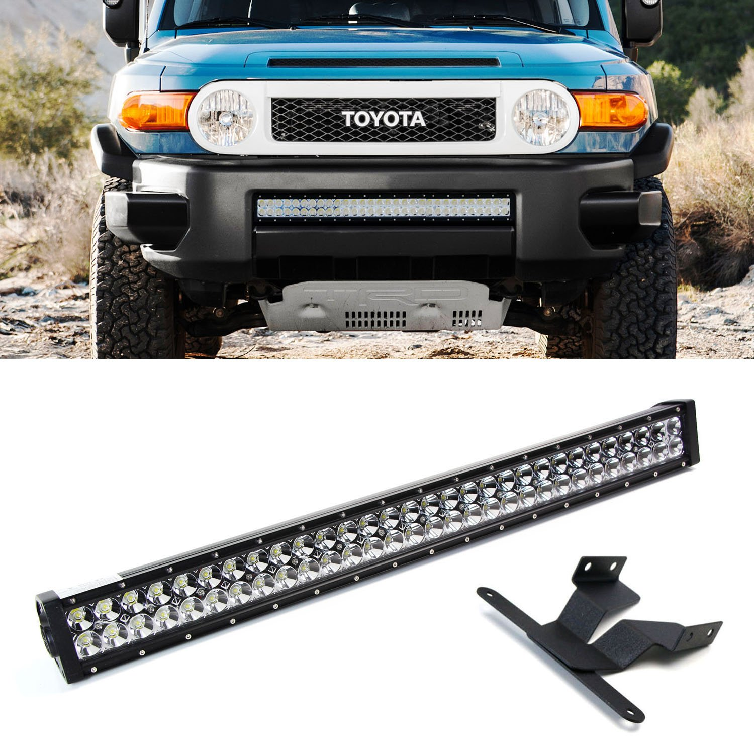 Amazon ijdmtoy 30 180w high power double row led light bar w high power double row led light bar w lower bumper grille mounting brackets and onoff switch wiring kit for 2007 2014 toyota fj cruiser automotive aloadofball Choice Image