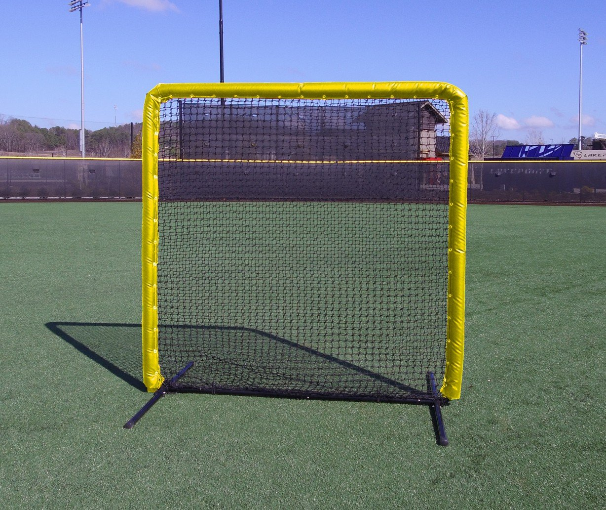 Armor Series 7X7 Protective Screen with Screen Bulletz. Baseball/Softball Padded Practice Screen Net with Vinyl Padding. Choose Color! (Yellow) by Armor