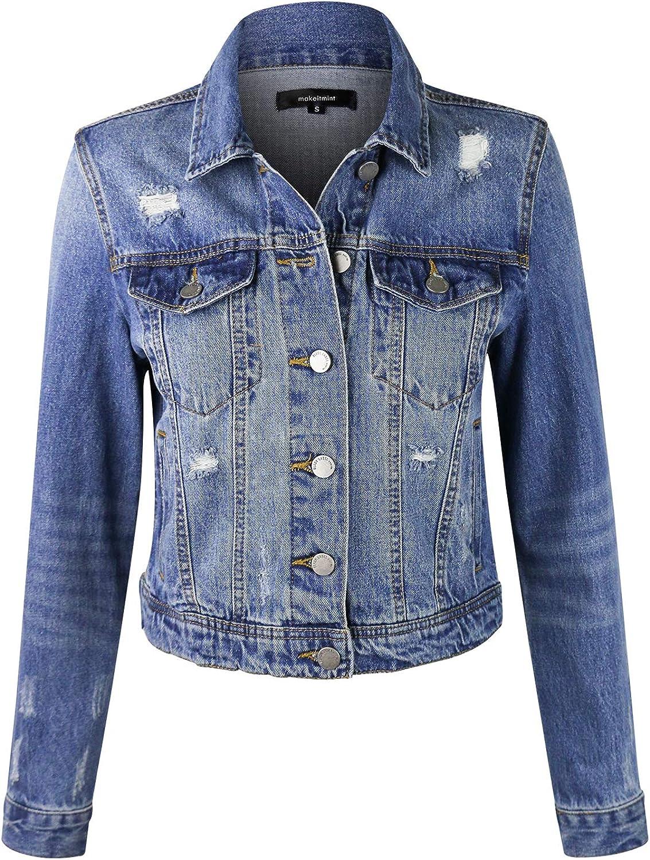 3 Colors makeitmint Womens Frayed Hem Casual Hi-Low Pocket Denim Vest