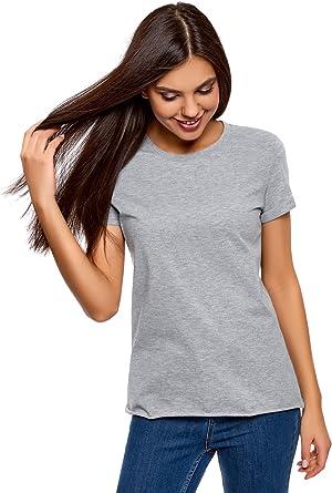 oodji Ultra Mujer Mujer Camiseta Básica de Algodón con Borde No ...