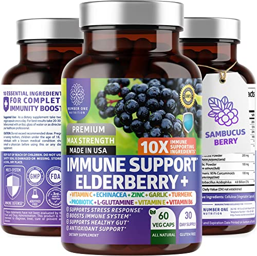 Premium Immune Support Booster, Powerful 10-in-1 Elderberry, Zinc, Vitamin C, E, B6, Echinacea, Garlic, Probiotic Turmeric Blend. High Potency, Supports a Healthy Respiratory System, 60 Veg Caps