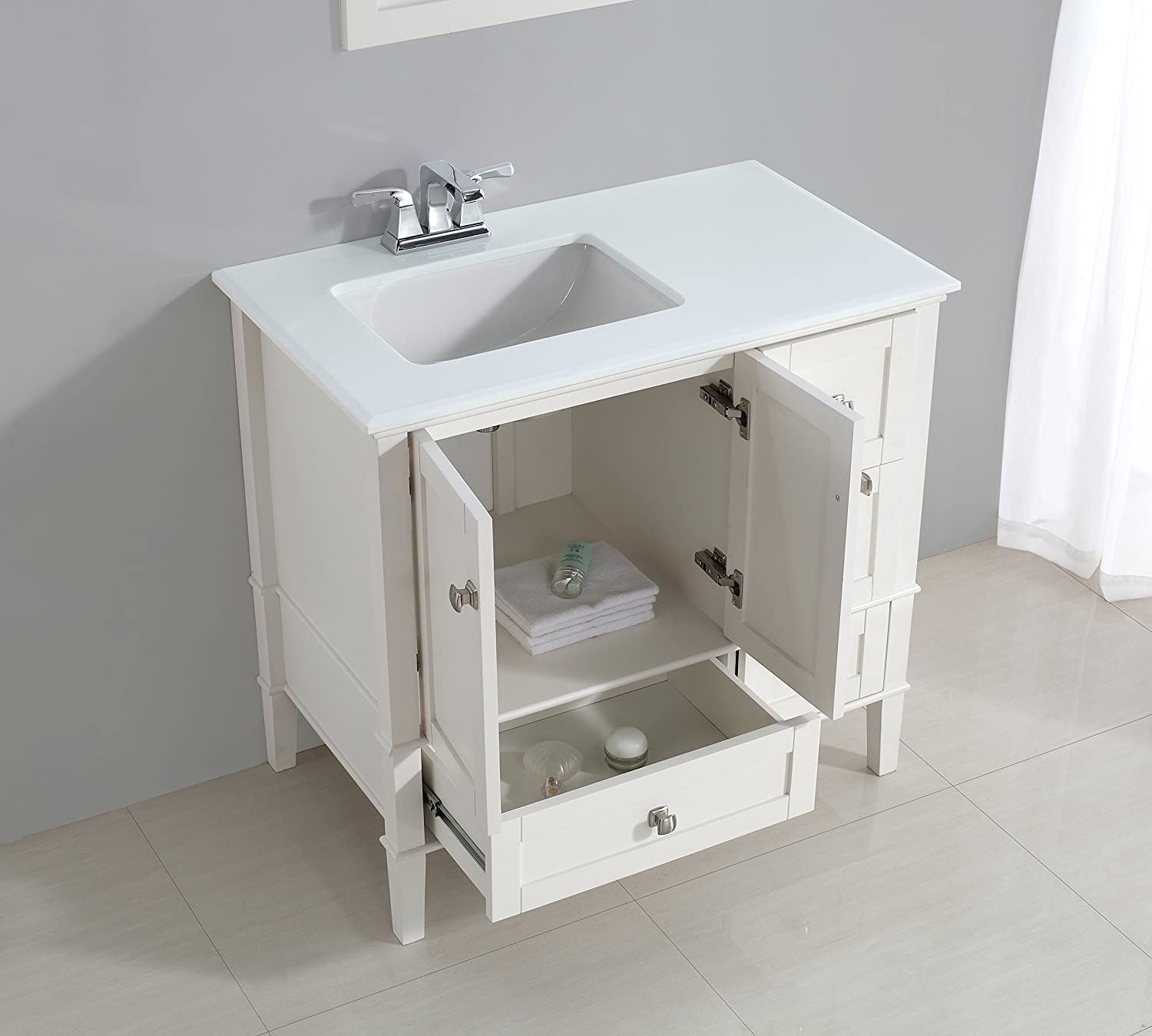 "Simpli Home Chelsea 36"" Left fset Bath Vanity with White Quartz"