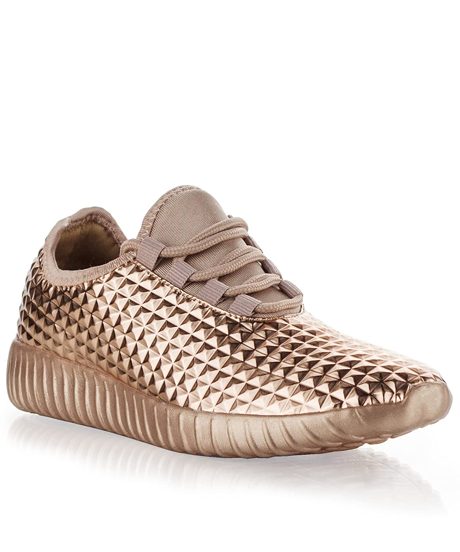 RF ROOM OF FASHION Women's Back to School Ultra Light Weight Soft Knitted Walking Slip On Sneakers Casual Flats B07BM9XX3B 6 M US Rose Gold Vegan