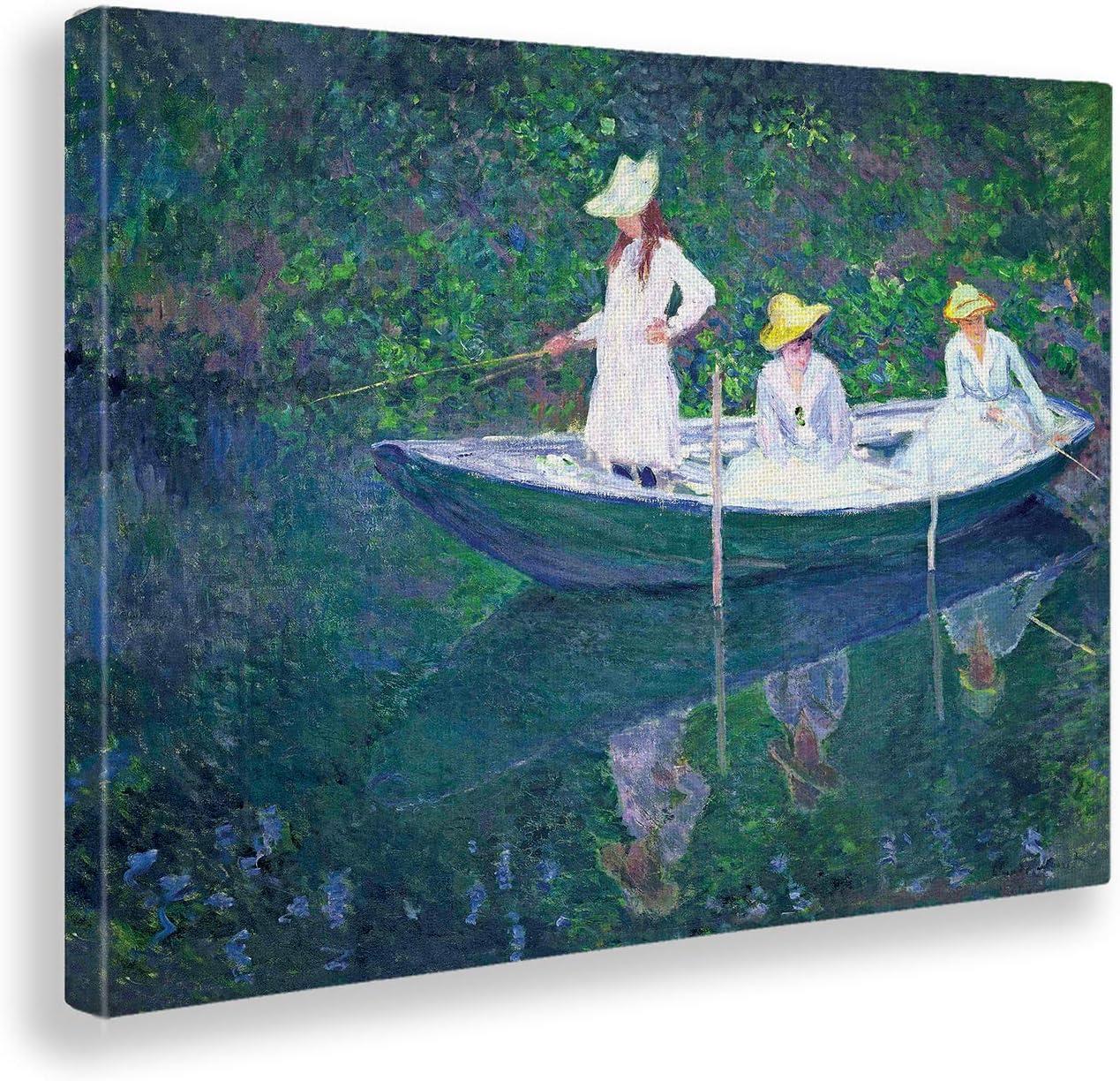 Giallobus - Cuadro - Claude Monet - Pesca en Barco - Estampado en Lienzo - Listo para Colgar - Varios tamaños - 70x50 cm