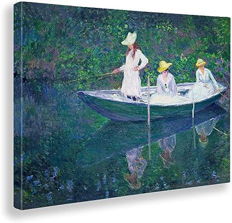 Monet tre barche da pesca design quadro stampa tela dipinto telaio arredo casa