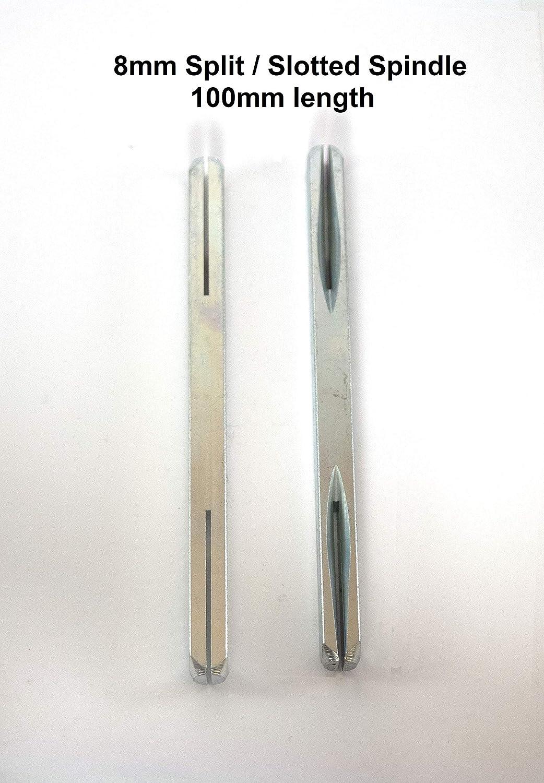 Split//Slotted Spindles 110mm Split Spindle, packof 1 8mm Split Spindle Bar 110mm Length for Door Handles