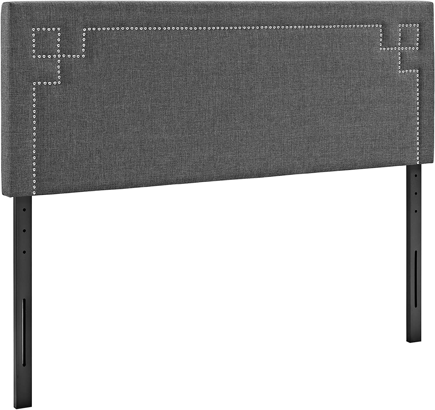 Modway Josie Linen Fabric Upholstered Gray Headboard in Gray with Nailhead Accents