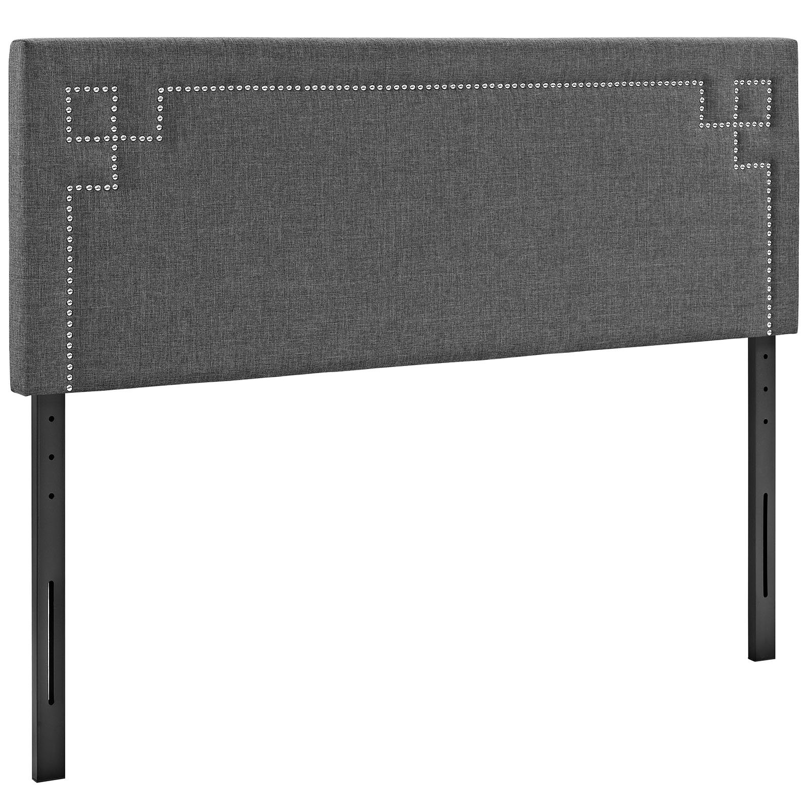 Modway Josie Upholstered Fabric Headboard Full Size With Nailhead Accents In Gray