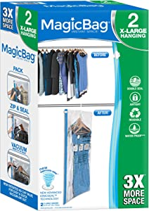 Smart Design MagicBag Instant Space Saver Storage - Hanging Extra Large Dress - Airtight Double Zipper - Vacuum Seal - Clothing, Pillows - Home Organization - (2 Bags)