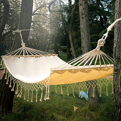 Double White Natural Cotton Handmade Hammock Beautiful Boho Style