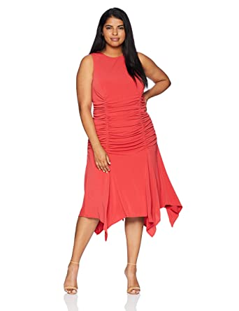 Maggy London Womens Plus Size Twill Knit Novelty Ruched Dress At