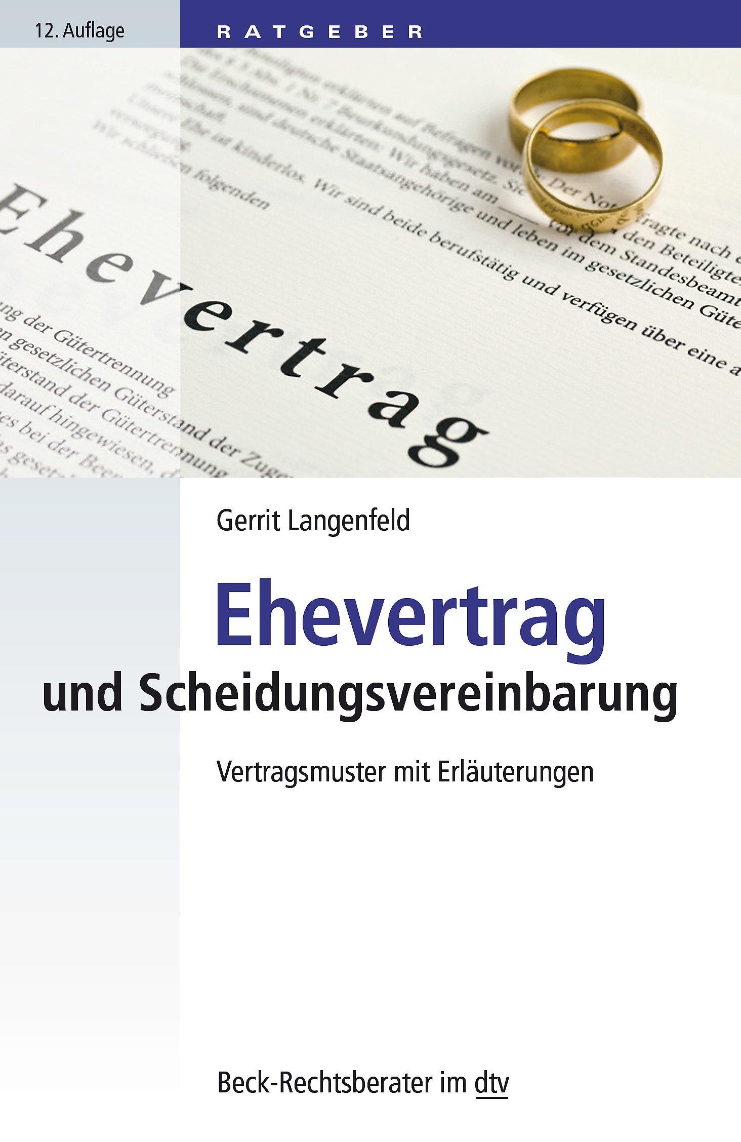 Ehevertrag Und Scheidungsvereinbarung Vertragsmuster Mit