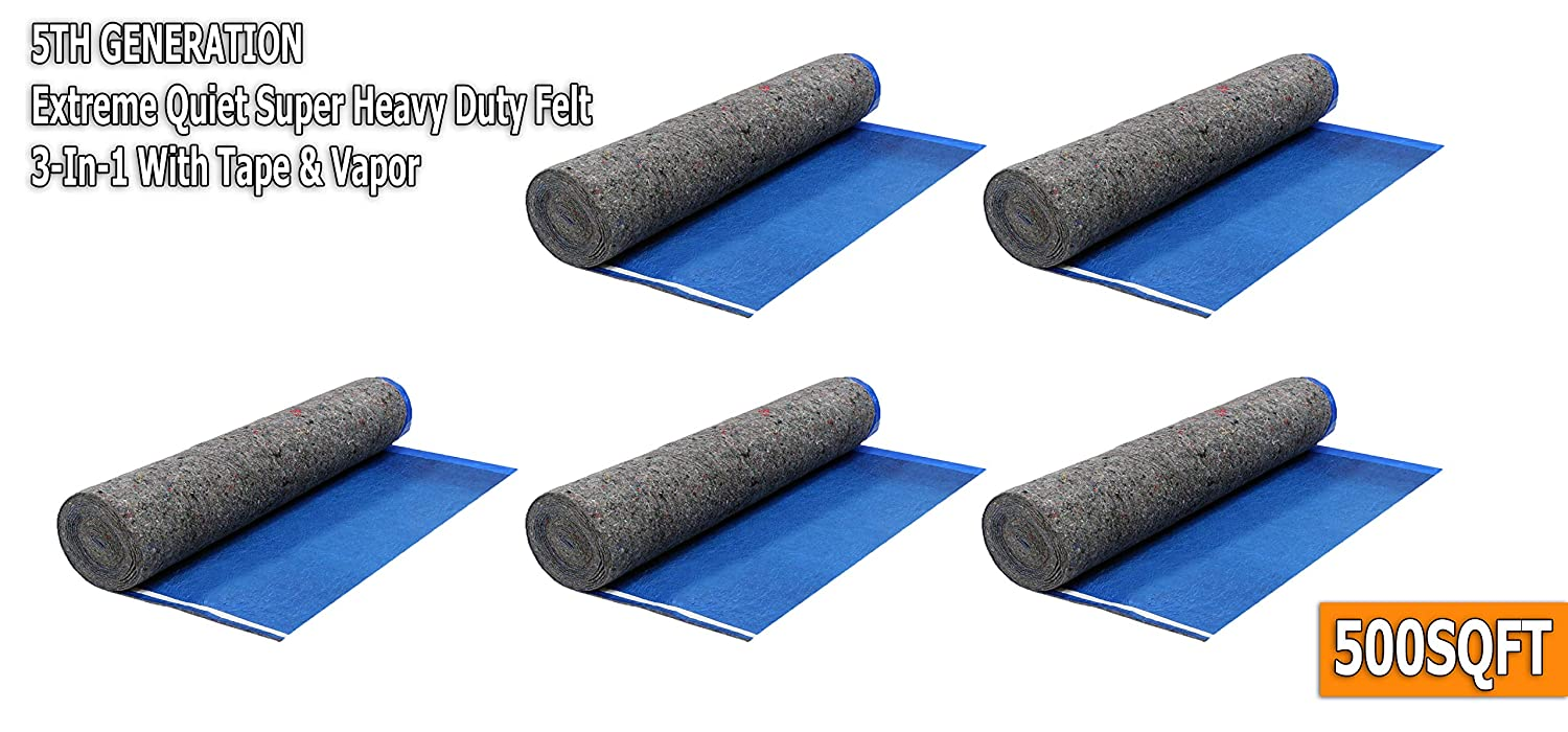 Square Feet ft 3.2MM Royal Blue AMERIQUE 691322307450 500SQFT 5TH Generation Extreme Quiet Super Heavy Duty Felt 3-in-1 Underlayment Padding with Tape /& Vapor Barrier 500 sq