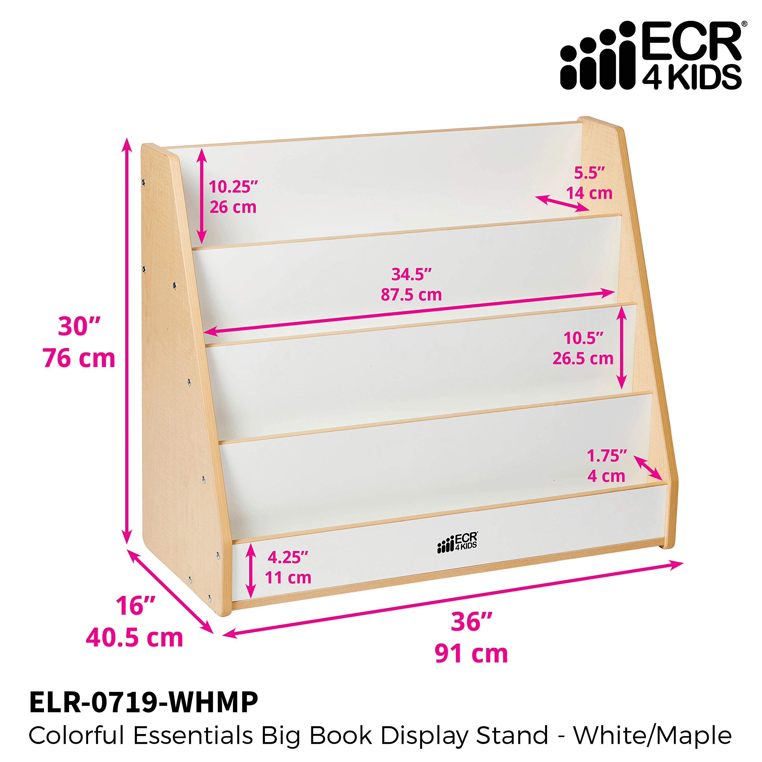 ECR4Kids Colorful Essentials 4-Tier Book Display Stand, White and Maple by ECR4Kids (Image #3)