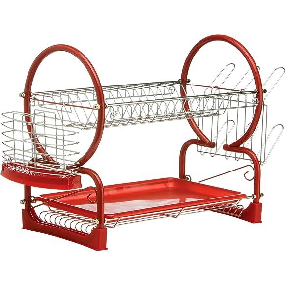 Premier Housewares Red 2-Tier Dish Drainer