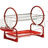 Premier Housewares 2-Tier Dish Drainer - 56 cm, Red