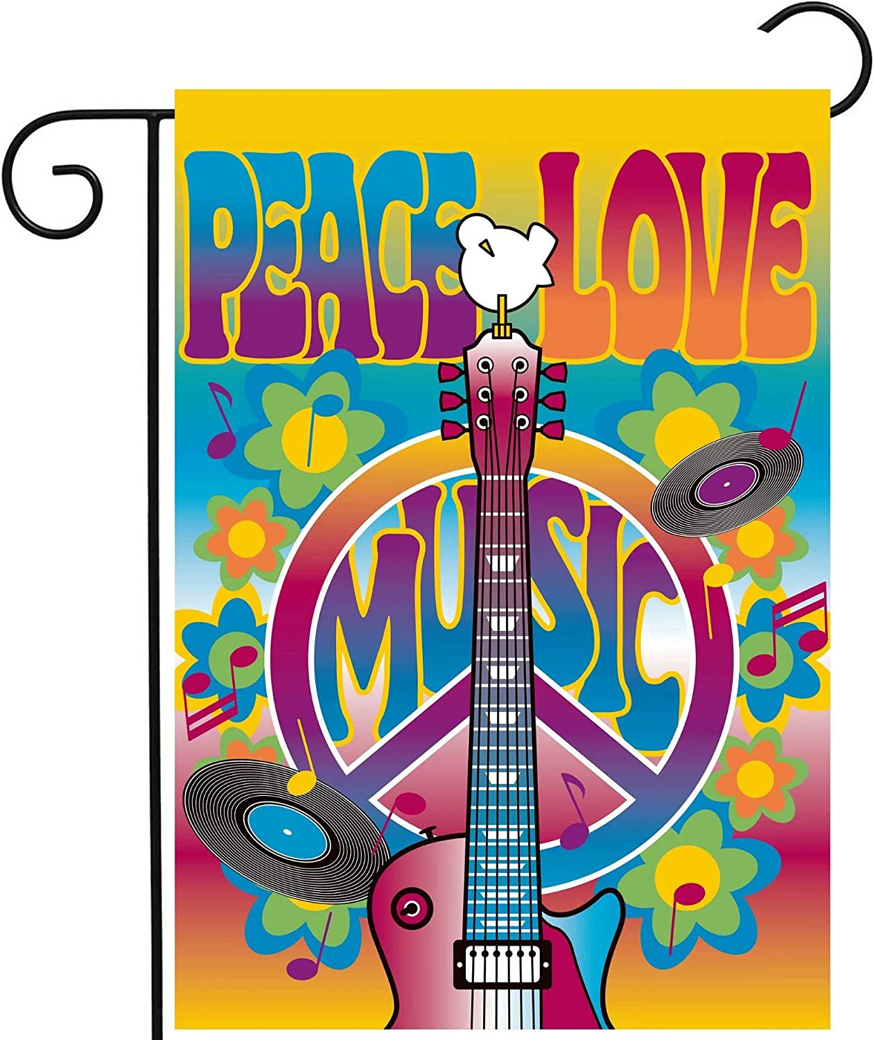 "ShineSnow Peace Love Symbol Guitar Dove Woodstock Music and Art Fair Garden Yard Flag 12""x 18"" Double Sided Polyester Welcome House Flag Banners for Patio Lawn Outdoor Home Decor"