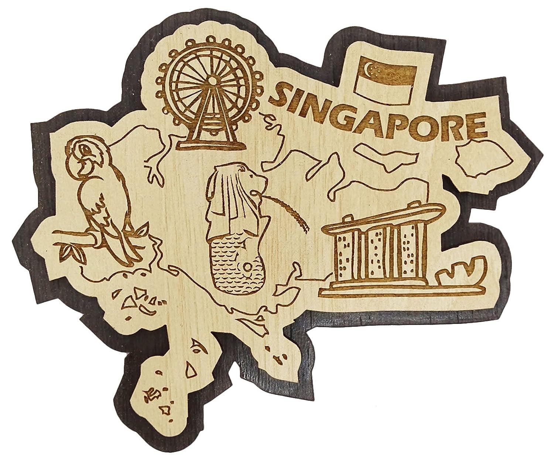 Printtoo Decorative Souvenir Wooden Singapore City Custom Fridge Magnet Collectible Gift