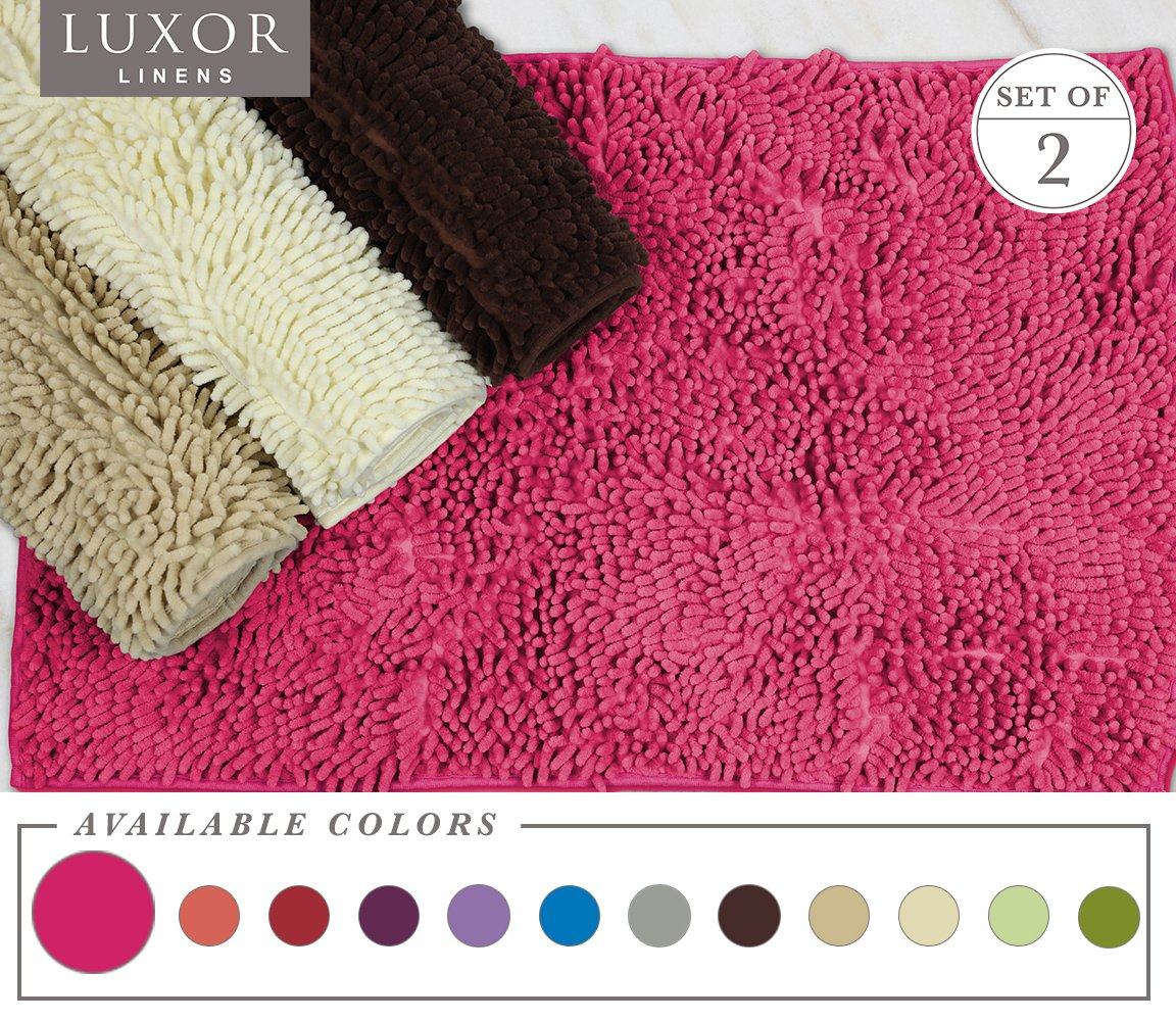 Luxor Linens - Bath Mat Shag Chenille - Rubber Backed & Non slip (20'' x 32'') Baby Soft & Absorbent Shower Rug - Colorful Floor Mats for the Kids! - 2 Piece - Hot Pink