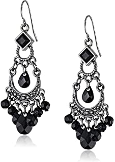 Amazon.com: 1928 Jewelry Jet and Black Crystal Chandelier Earrings ...