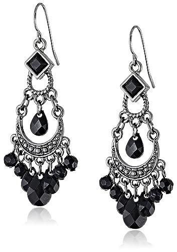 Amazon 1928 jewelry black crescent chandelier earrings drop 1928 jewelry black crescent chandelier earrings mozeypictures Choice Image