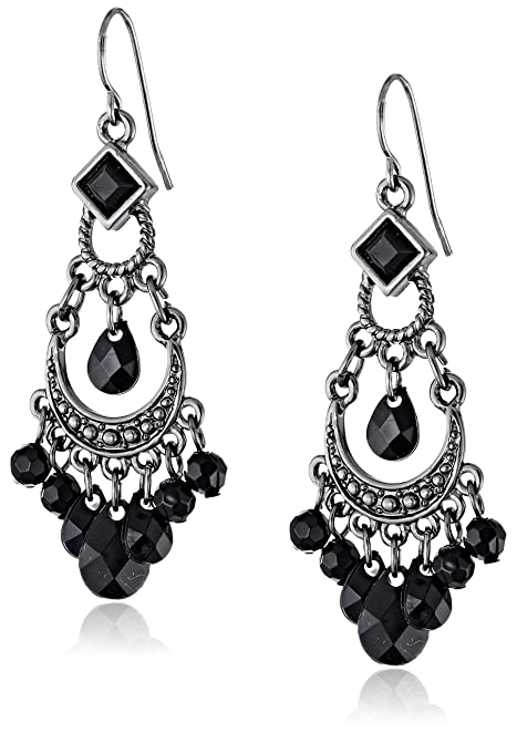Amazon.com: 1928 Jewelry Black Crescent Chandelier Earrings: Drop ...