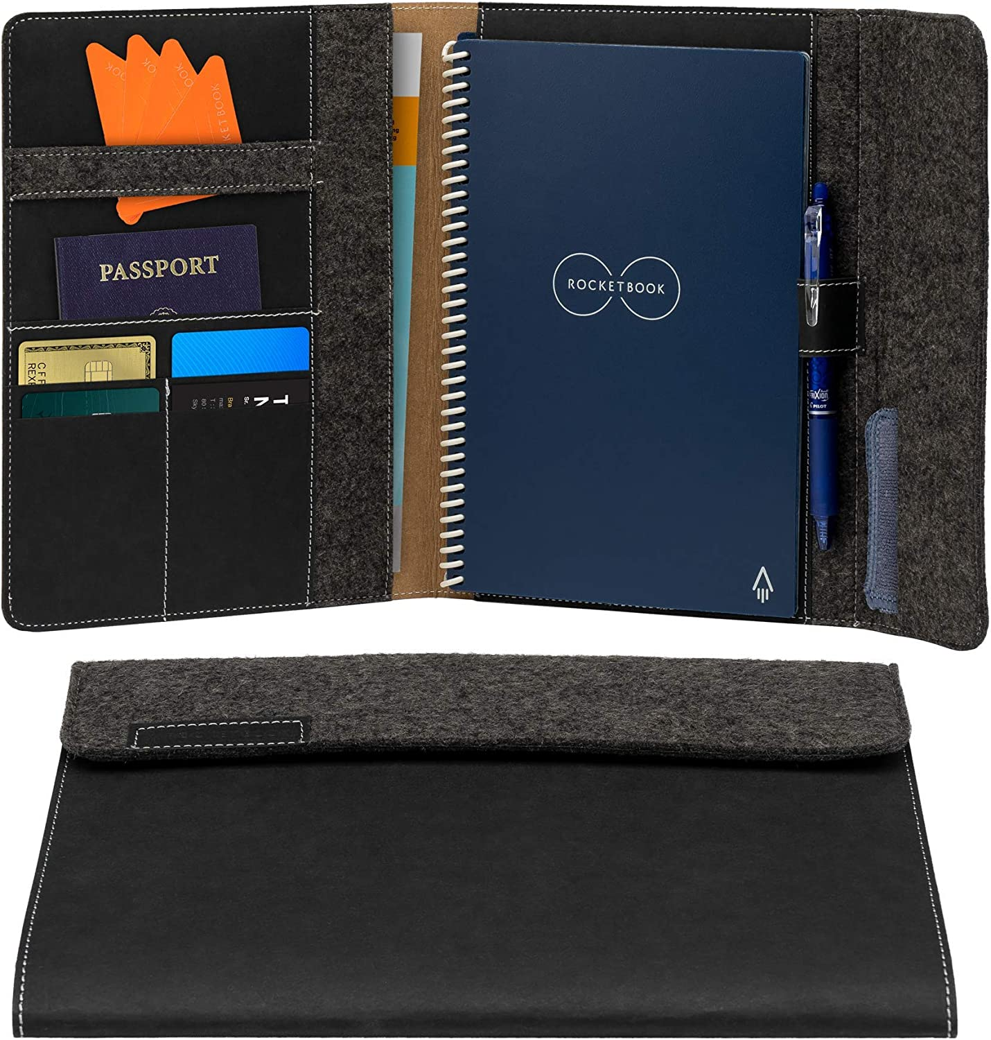 "Rocketbook Smart Notebook Folio Cover - 100% Recyclable, Biodegradable Cover with Pen Holder, Magnetic Clasp & Inner Storage - Dark Matter Black, Executive Size (6"" x 8.8"")"