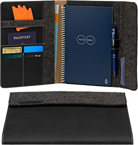 """Rocketbook Smart Notebook Folio Cover - 100% Recyclable, Biodegradable Cover with Pen Holder, Magnetic Clasp & Inner Storage - Dark Matter Black, Executive Size (6"""" x 8.8"""")"""