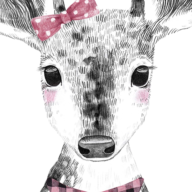 Nacnic Cerf Feuille Infantile Taille b/éb/é Noir et Blanc Affiche des Animaux b/éb/é A3 Frameless