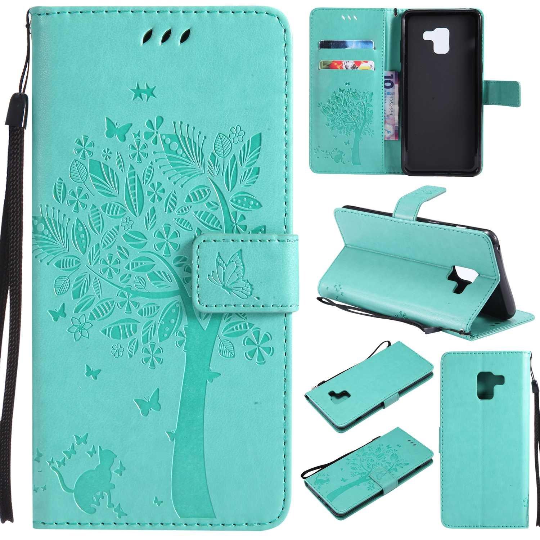 BoxTii Samsung Galaxy A8 Plus 2018 Hü lle [mit Frei Hartglas Displayschutzfolie], Lederhü lle mit Kartenfä chern, Leder Flip Schutzhü lle fü r Samsung Galaxy A8 Plus 2018 (#1 Schwarz) BODE13-A8P2018-I01