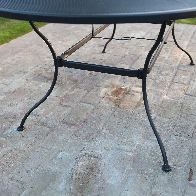 Amazon.com : Belham Living Stanton 42 X 72 In. Oval Wrought Iron Patio  Dining Table By Woodard   Textured Black : Patio, Lawn U0026 Garden