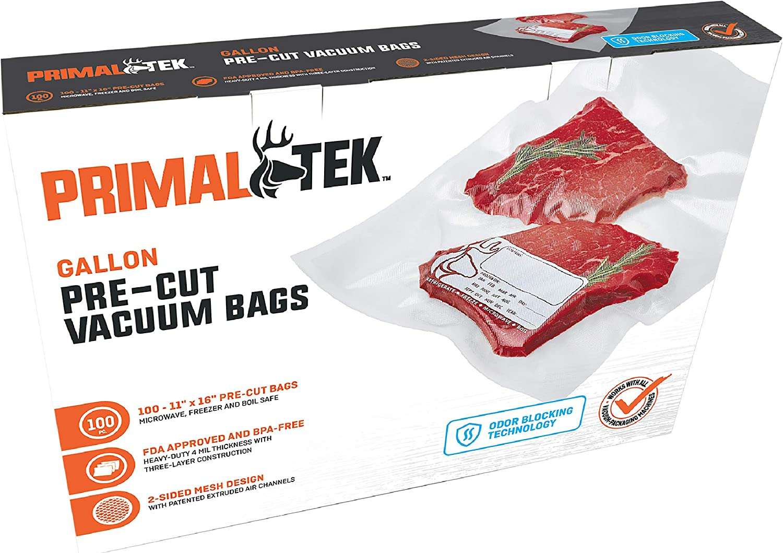 "PrimalTek Pre-Cut Vacuum Sealer Bags – BPA-Free Vacuum Seal Bags, Microwave, Freezer and Boil Safe, Compatible with Most Vacuum Seal Machines (11"" x 16"")"