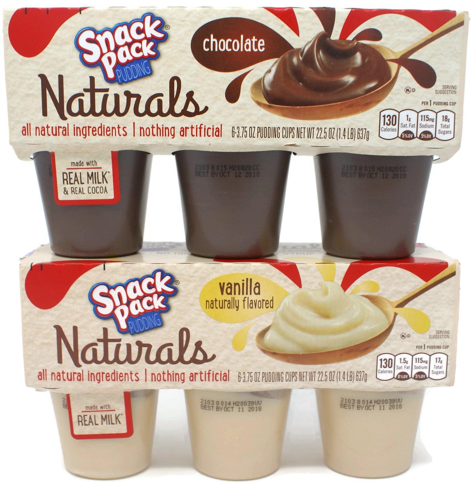 Variety Pack - Snack Pack Pudding Naturals (1 lb 6 oz) - Vanilla, Chocolate