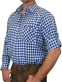 trenditionals Trachtenhemd Mike kurzarm kariert mit Kontrasten im Kragen und Stick auf der Brusttasche