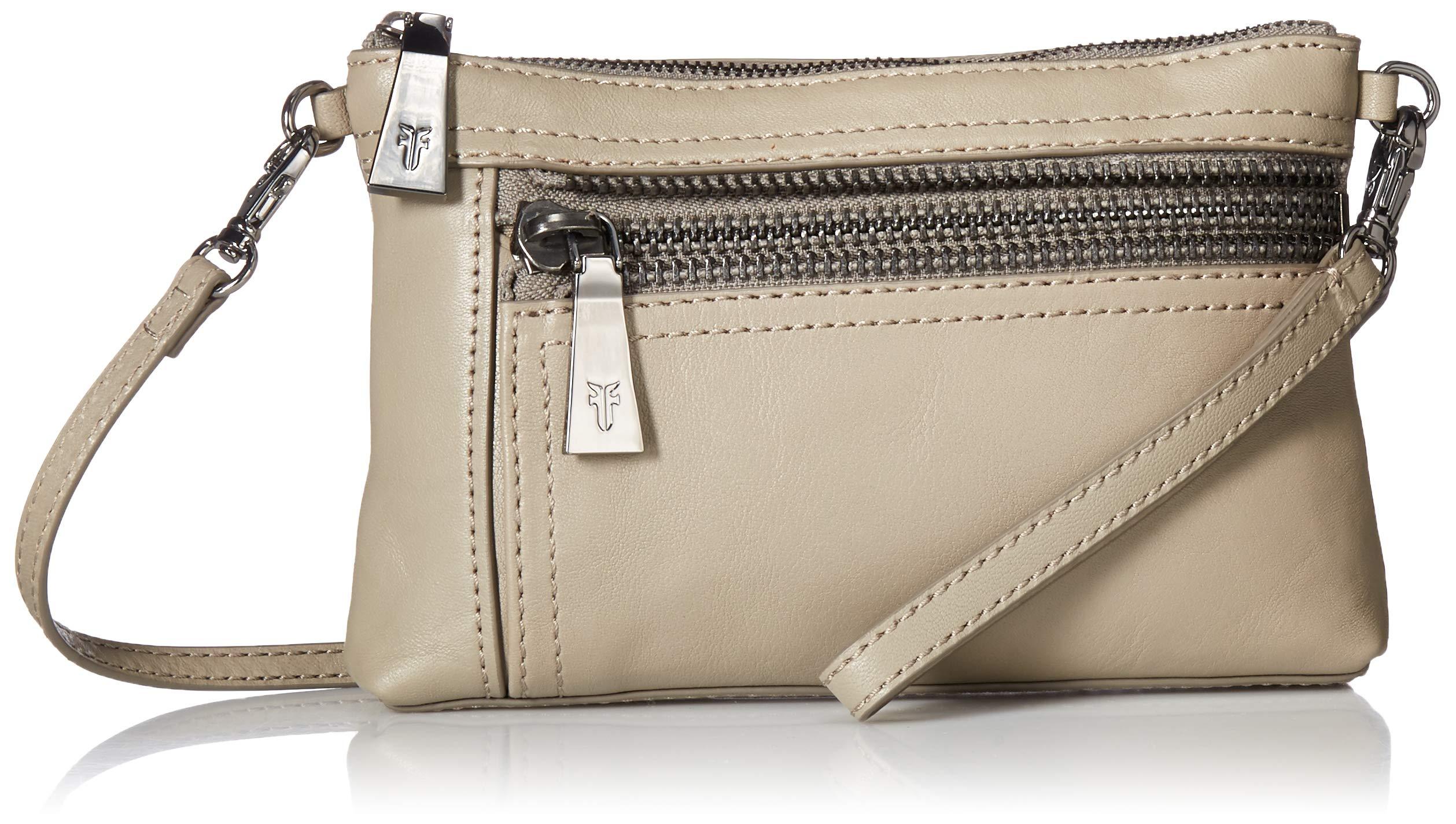 FRYE Lena Zip Leather Crossbody Wristlet Bag, grey